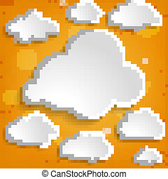illustration of white clouds collection on an orange...