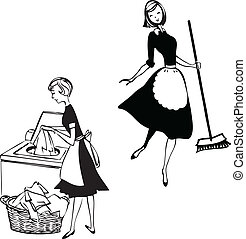 Cleaning ladies - Black and white clipart of two maids