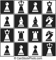 monochrome chess seamless pattern