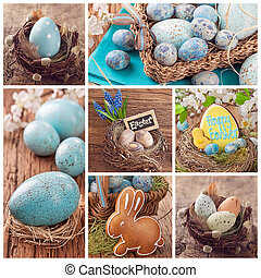 Easter collage of photos with spring decoration