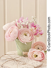 Pink flowers - Pink ranunculus flowers and letters