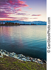 Vibrant Sunset of Scenic Mountain Lake
