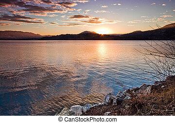 Vibrant Sunset of Scenic Mountain Lake