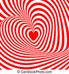 Design heart swirl rotation illusion background. Abstract...
