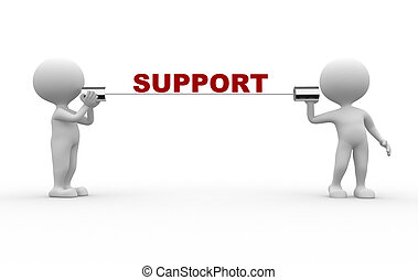 Support - 3d people - men, person talking on a homemade can...