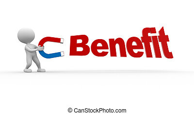 Benefit - 3d people - man, person capturing with magnet word...