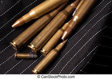Different Caliber Bullets Closeup.