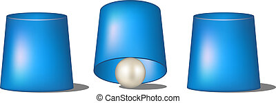 Thimblerig with blue cups and ball on white background