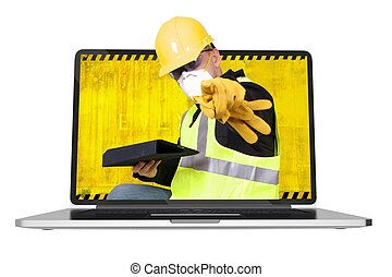 Contractor Inside Laptop - Contractor Coming Out of Computer...
