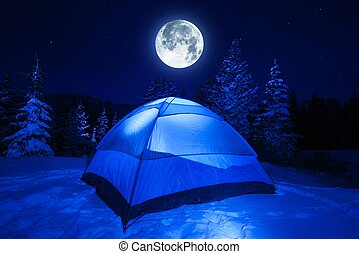 Winter Night Camping in Heavy Mountains Snow. Large Full...