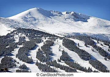Summit County Ski Slopes. Winter in Breckenridge, Colorado,...