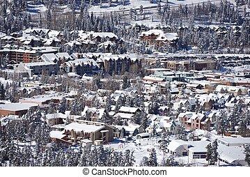 Town of Breckenridge, Colorado in Winter. Breckenridge...