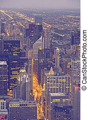 Windy City Chicago. City of Chicago. Downtown From Bird Eye...