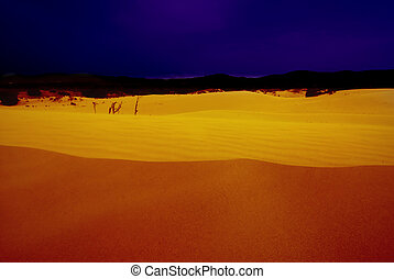 Desert at night - Desert after the sunset with a deep blue...