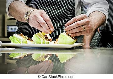 Chef Prepares Salad