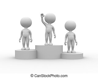 Podium winner - 3d people - men, person on podium winner