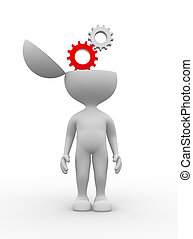 Gear mechanism. - 3d people - man, person with half head and...