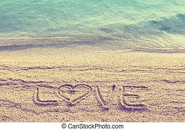 amor, texto, escribió, playa, arena