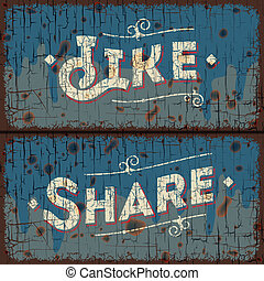 Like, share words - social media concept - Like, share -...