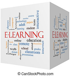 E-Learning 3D cube Word Cloud Concept with great terms such...
