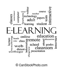E-Learning Word Cloud Concept in black and white with great...
