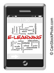 E-Learning Word Cloud Concept on Touchscreen Phone -...
