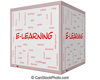 E-Learning Word Cloud Concept on a 3D cube Whiteboard with...