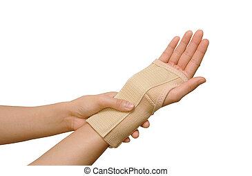 Trauma of wrist with  brace ,wrist support