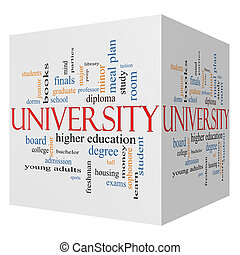 University 3D cube Word Cloud Concept with great terms such...