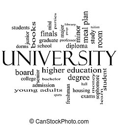 University Word Cloud Concept in black and white with great...