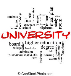 University Word Cloud Concept in red caps with great terms...
