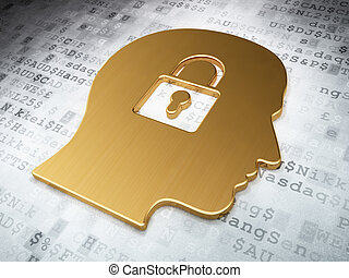 Finance concept: Golden Head With Padlock on digital...