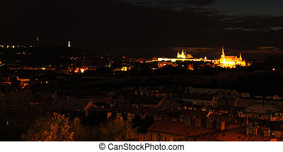 Prague at night - Prague with castle and churches in the...