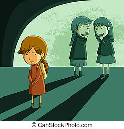 outcast girl - little girl being ostracized and bullied
