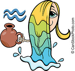 aquarius zodiac sign cartoon - Cartoon Illustration of...
