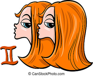 gemini or the twins zodiac sign - Cartoon Illustration of...