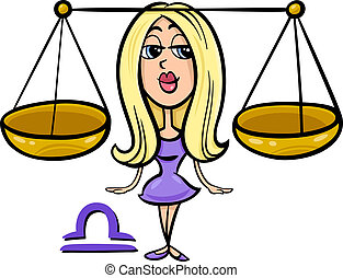 libra or the scales zodiac sign - Cartoon Illustration of...