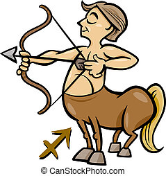 sagittarius zodiac sign cartoon - Cartoon Illustration of...