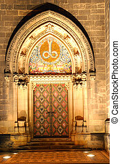 Portal - Illuminated portal of a czech cathedral on Vysehrad...
