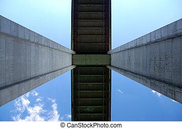 Detail of a bridge pillars from bottom