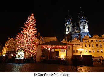 Prague at Christmas - Old Town Square in Prague with Tyn...