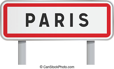 Paris road sign - Vector illustration of isolated Paris...