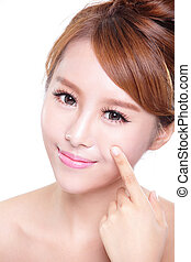 beautiful Skin care woman Face isolated over white...