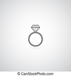 Diamond engagement ring vector symbol