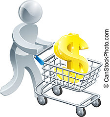Person pushing trolley with dollar sign - A person pushing a...