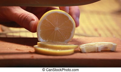 sliced lemon closeup