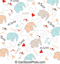 Seamless baby elephant pattern, illustration in vector...