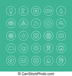 Power and energy flat line icons - Flat thin line icons...