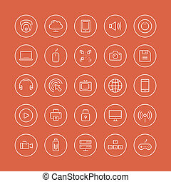 Multimedia and technology flat line icons - Flat thin line...