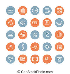 Finance and business flat icons set - Flat line icons modern...